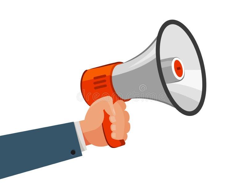 Głośnik lub megafon w ręce Reklamujący, wprowadzać na rynek, ogłasza, promocyjny pojęcie obcy kreskówki kota ucieczek ilustraci d royalty ilustracja