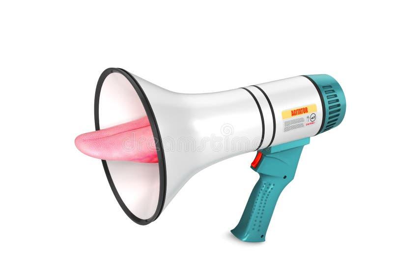 Głośnika wrzask jęzor wtyka z głośnika Głośny wrzask informacja 3d royalty ilustracja