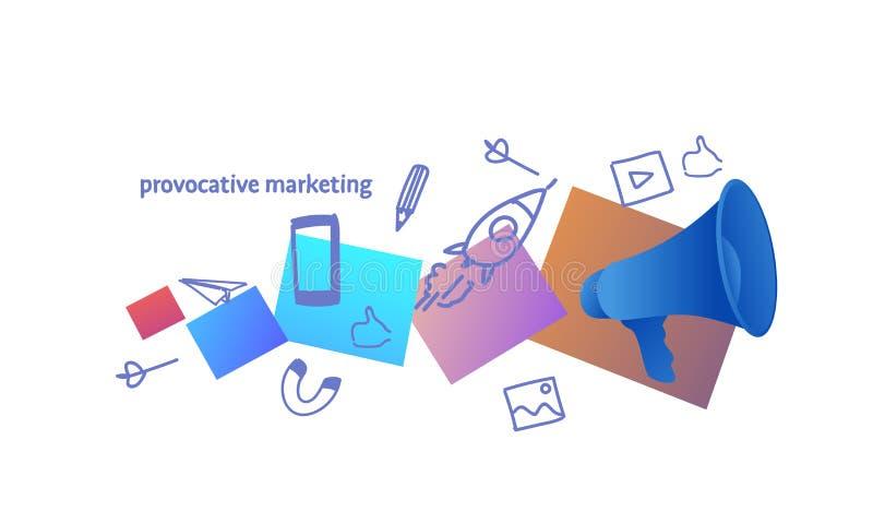 Głośnika zawiadomienia pojęcia nakreślenia prowokujący marketingowy doodle horyzontalny royalty ilustracja