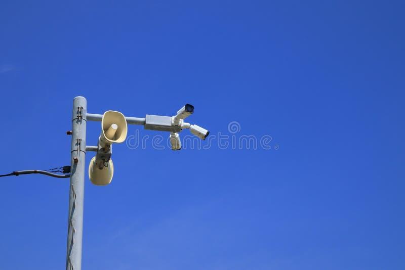 Głośniki i CCTV kamery bezpieczeństwe fotografia royalty free