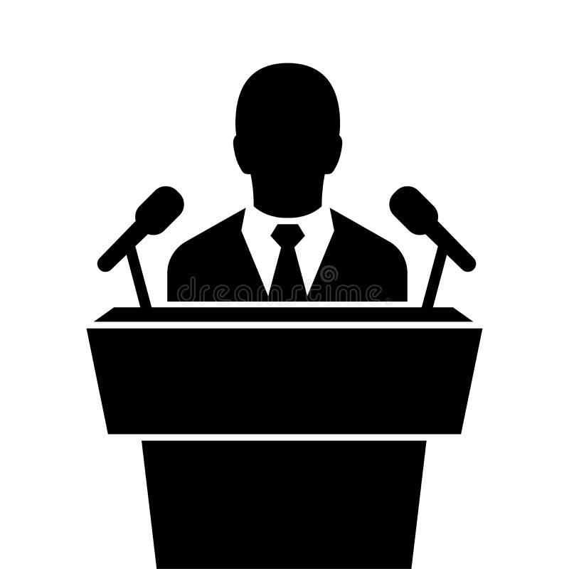 Głośnikowa czarna ikona krasomówcy mówienie od trybuna wektoru ilustracja wektor
