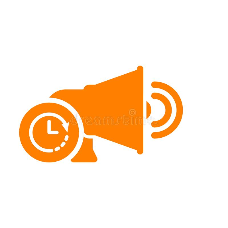 Głośnikowa ikona, technologii ikona z zegaru znakiem Głośnikowa ikona i odliczanie, ostateczny termin, rozkład, planistyczny symb ilustracji
