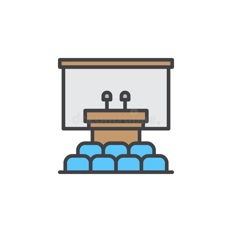 Głośnikowa podium linii ikona, wypełniający konturu wektoru znak, liniowy kolorowy piktogram odizolowywający na bielu ilustracji