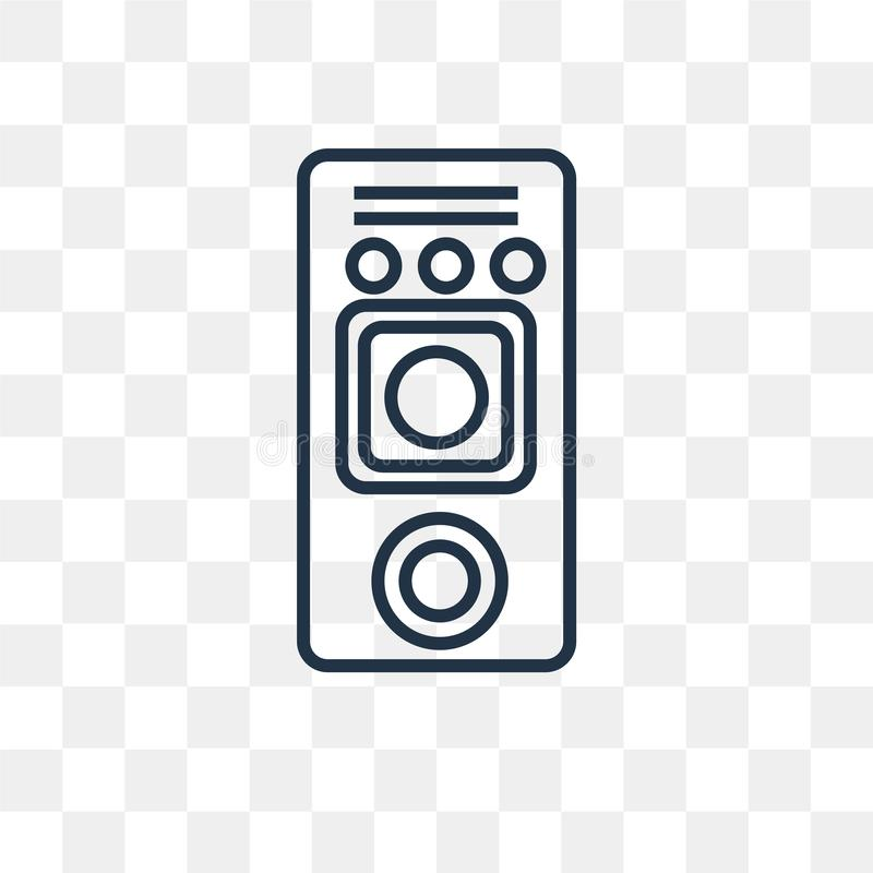 Głośnikowa wektorowa ikona odizolowywająca na przejrzystym tle, liniowy S royalty ilustracja