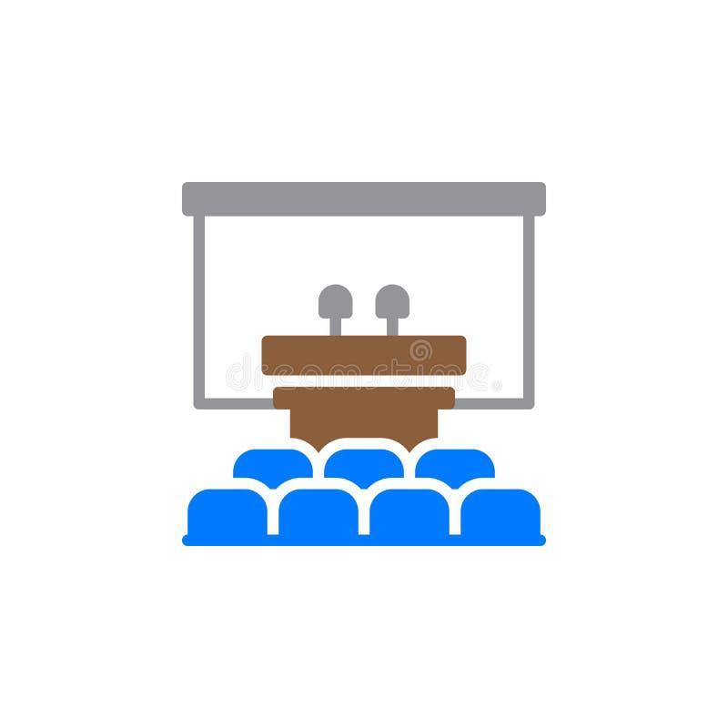 Głośnikowy podium ikony wektor, wypełniający mieszkanie znak, stały kolorowy piktogram odizolowywający na bielu ilustracja wektor