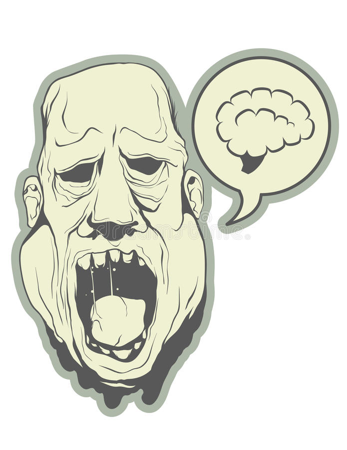 Głodna żywy trup głowa royalty ilustracja