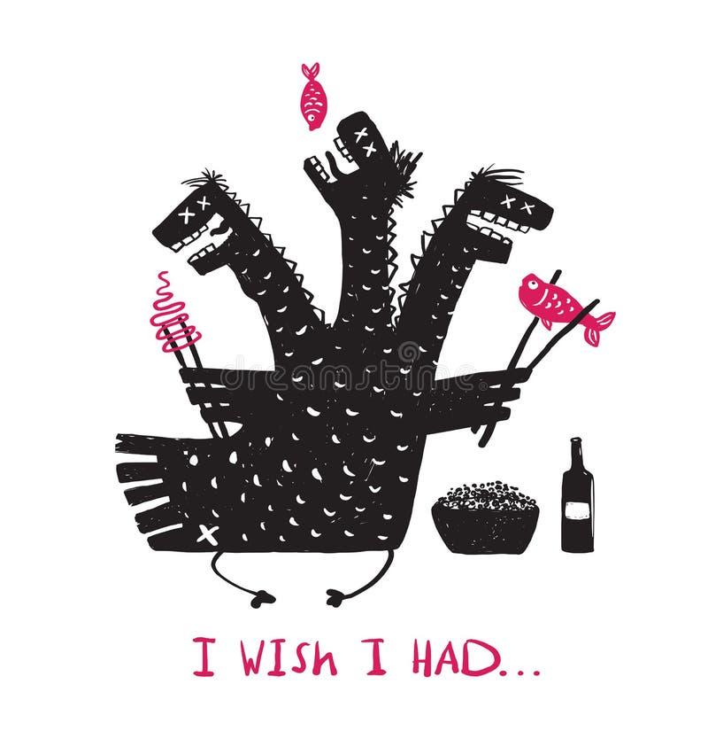Głodny Śmieszny smoka łasowania jedzenia Pić Szorstki ilustracji