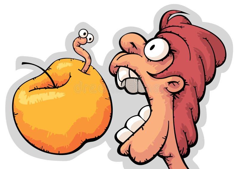 głodny jabłczany zjadliwy facet ilustracja wektor