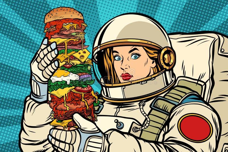 Głodny kobieta astronauta z gigantycznym hamburgerem ilustracji