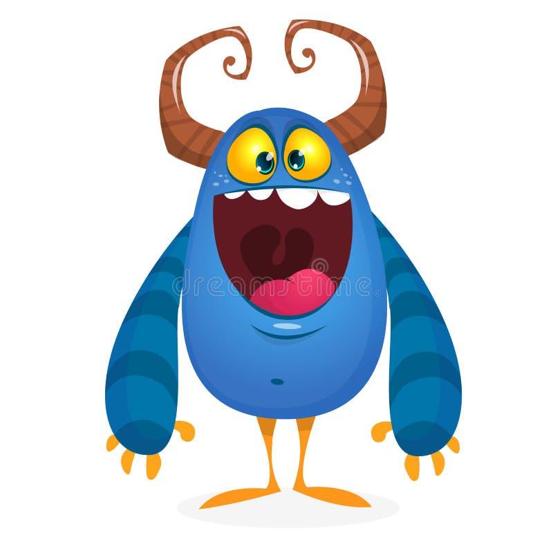Głodny kreskówka potwór z podnieceniem również zwrócić corel ilustracji wektora ilustracja wektor