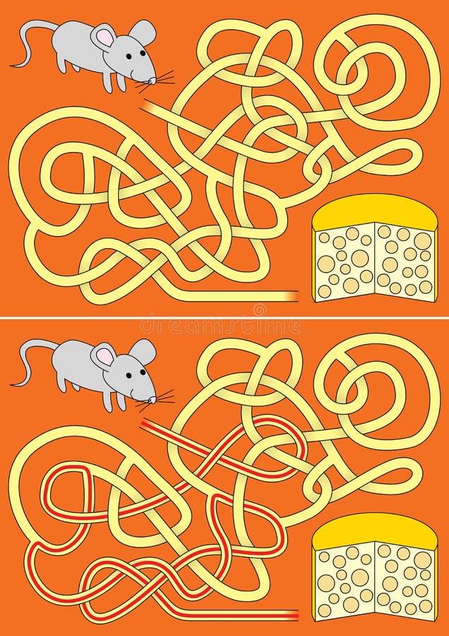 Głodny mysz labirynt ilustracji