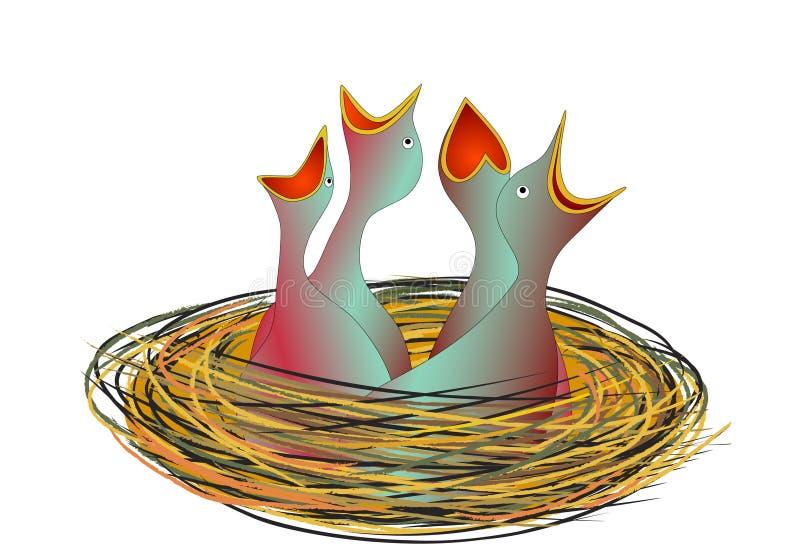 głodny ptaszęcia gniazdeczko ilustracji