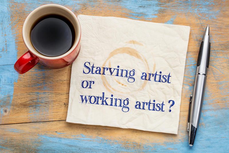 Głodujący lub pracujący artysty pytanie obraz royalty free