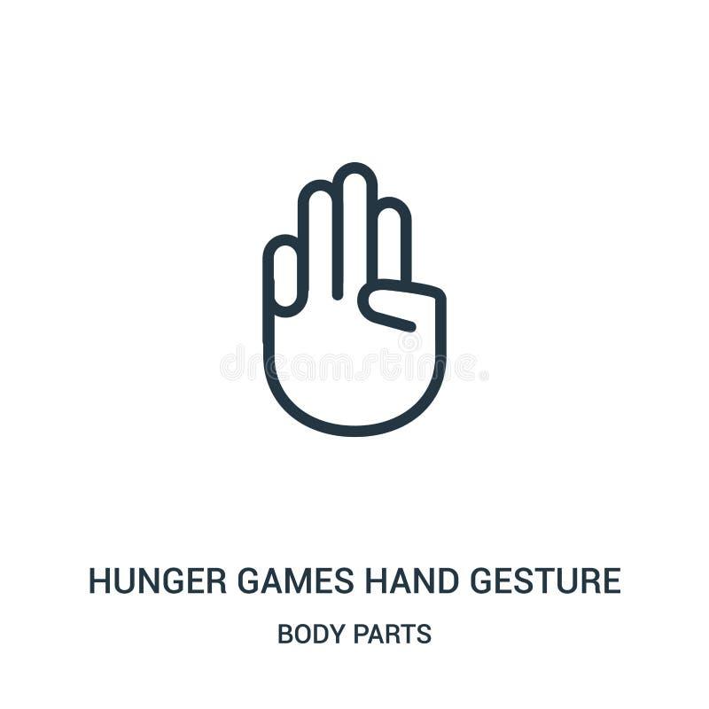 głoduje gry ręki gesta ikony wektor od części ciałych inkasowych Cienki kreskowy głód gier ręki gesta konturu ikony wektor royalty ilustracja