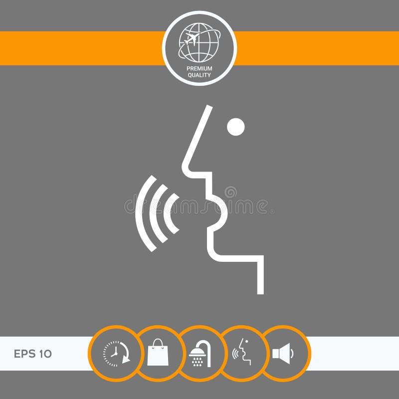 Głos kontrola, osoba opowiada - ikona ilustracji