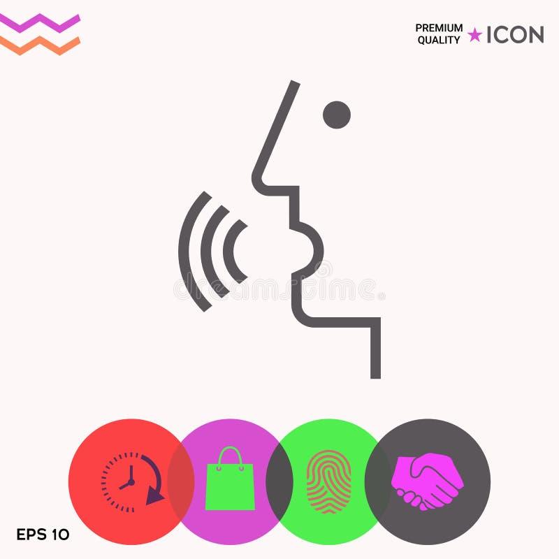 Głos kontrola, osoba opowiada - ikona ilustracja wektor