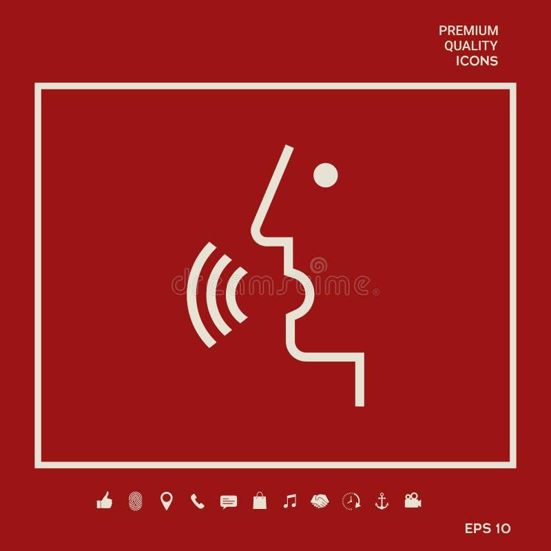Głos kontrola, osoba opowiada - ikona Graficzni elementy dla twój projekta ilustracji