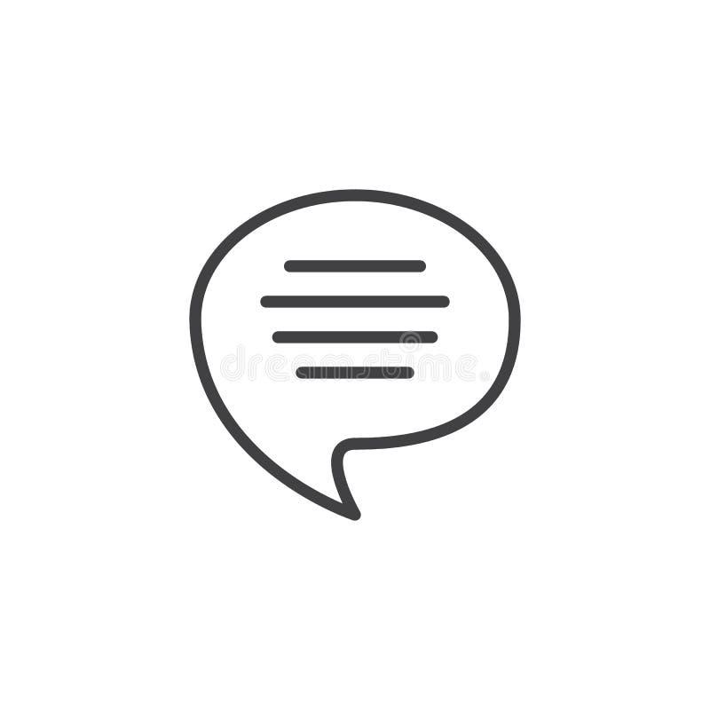 Głos mowy bąbla konturu ikona ilustracji