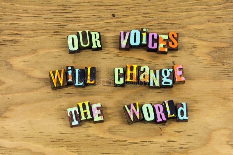 Głos zmiany światowy głosowanie wierzy letterpress zdjęcie stock
