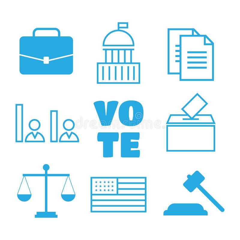 Głosować i wyborów liniowe ikony Polityczne ikony Ustawiać Głosować ilustracji