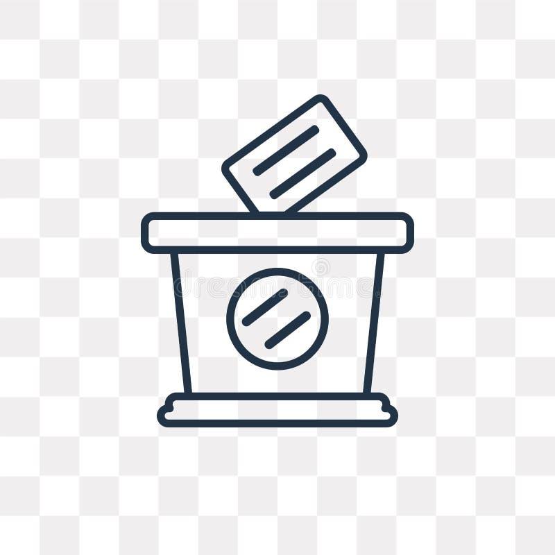 Głosować wektorową ikonę na przejrzystym tle, liniowy Vo ilustracji