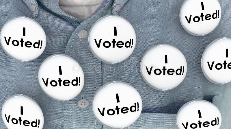 Głosowałem guzik szpilek wybory wyborcy polityka Koszulową demokrację ilustracja wektor