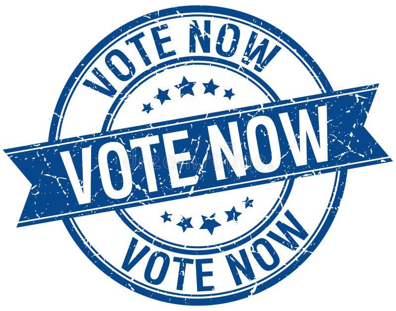 głosowania teraz grunge błękita retro znaczek ilustracja wektor