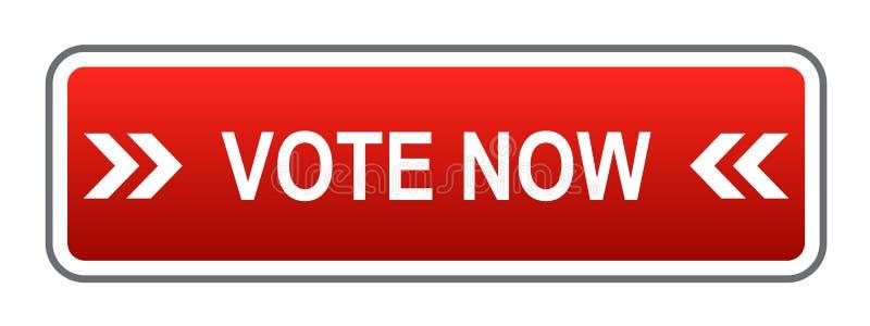 Głosowania teraz guzika czerwień ilustracji