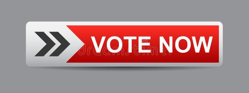 Głosowania teraz guzika czerwień royalty ilustracja