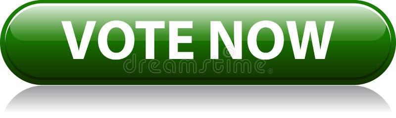 Głosowania teraz zieleni guzik ilustracji