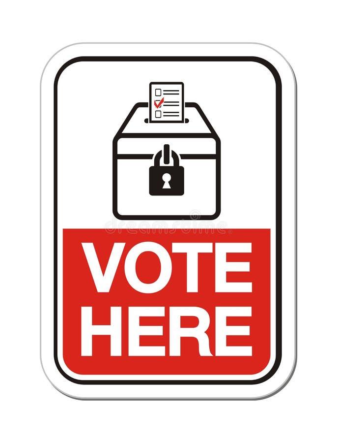 Głosowania tutaj - miejsce głosowania znak ilustracji