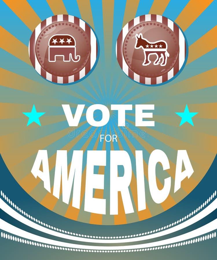 Głosowanie dla Ameryka słonia versus osła amerykanina sztandar royalty ilustracja