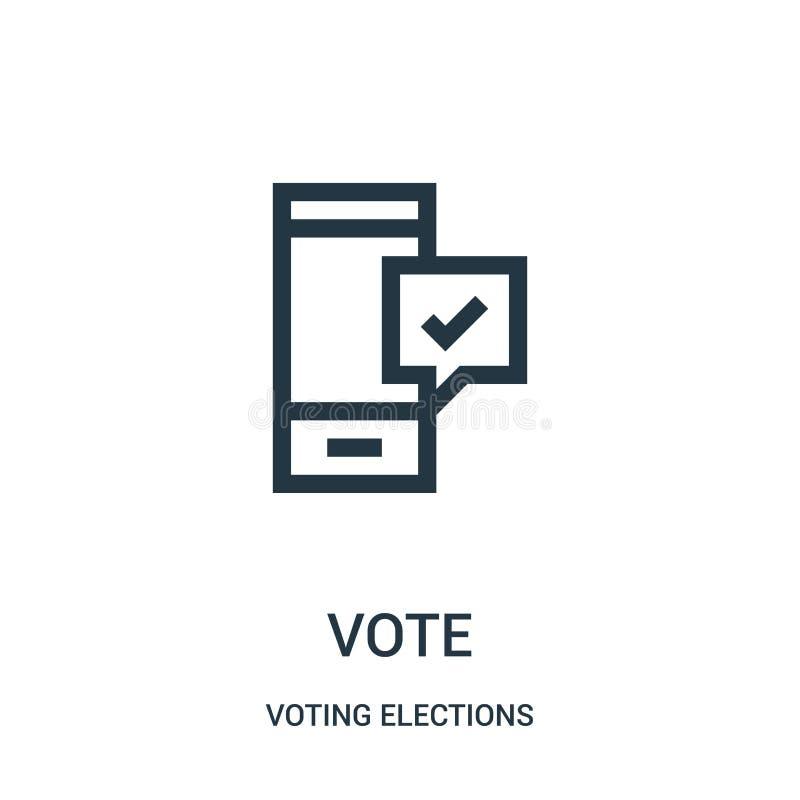 głosowanie ikony wektor od głosować wybory inkasowych Cienka kreskowa głosowanie konturu ikony wektoru ilustracja ilustracji