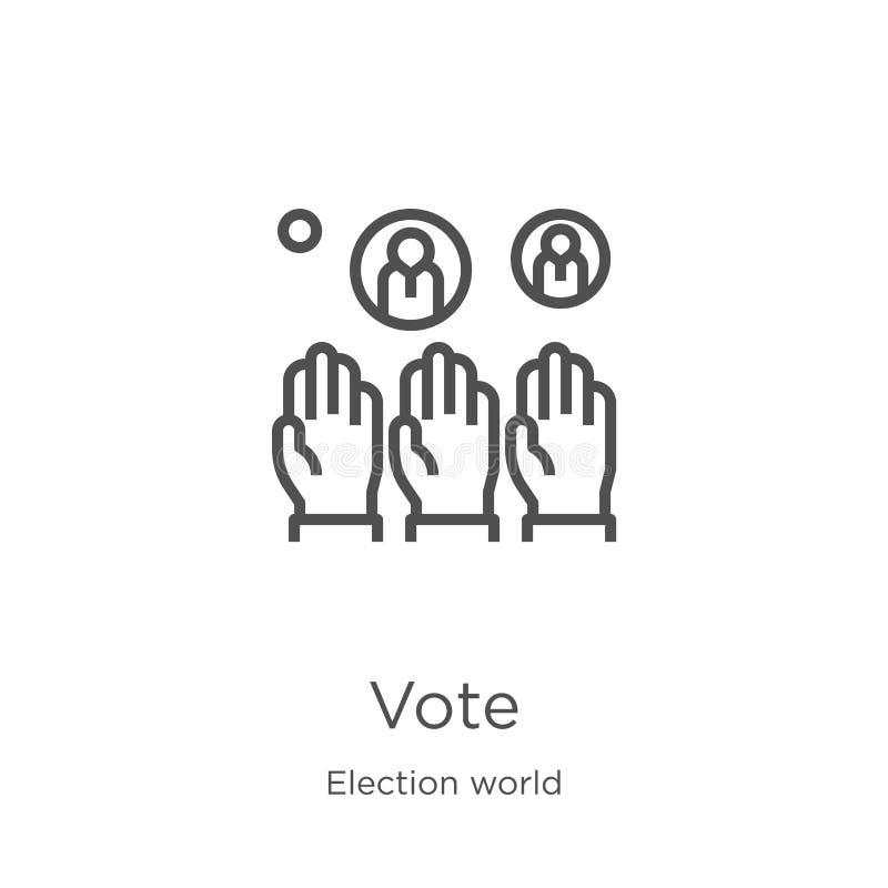 głosowanie ikony wektor od wybory światu kolekcji Cienka kreskowa głosowanie konturu ikony wektoru ilustracja Kontur, cienka kres ilustracji