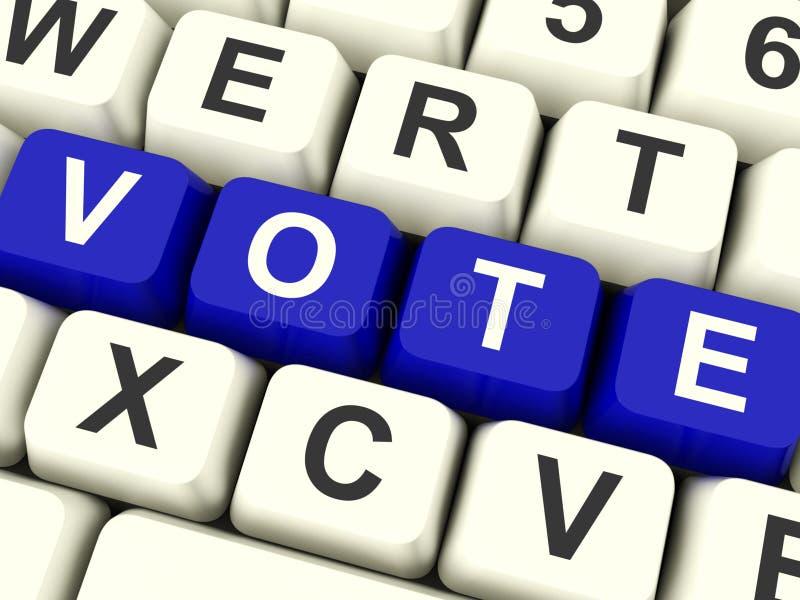 Głosowanie Komputerowi klucze W Błękitnych Pokazuje wyborach Lub opcjach fotografia royalty free