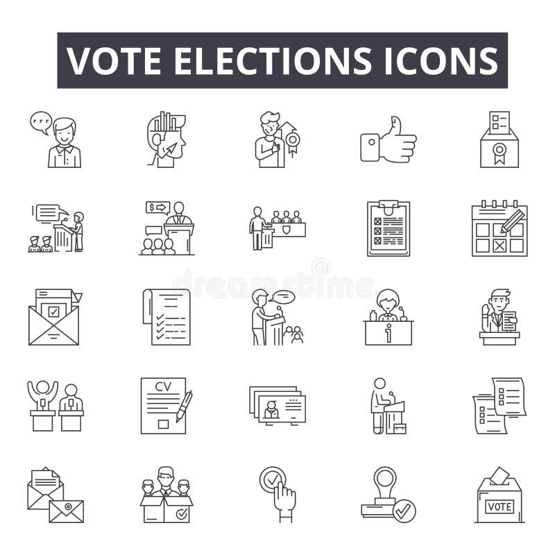 Głosowanie wyborów kreskowe ikony, znaki, wektoru set, kontur ilustracji pojęcie royalty ilustracja