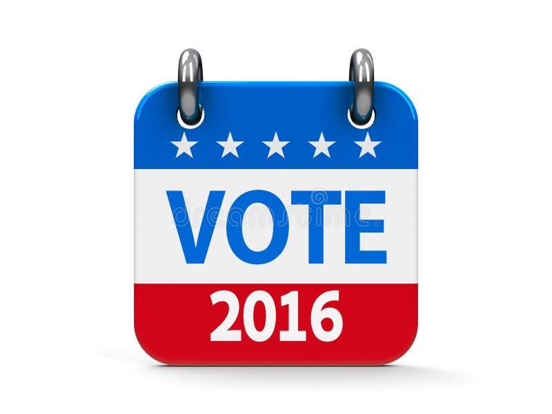 Głosowanie wybory ikony 2016 kalendarz ilustracja wektor