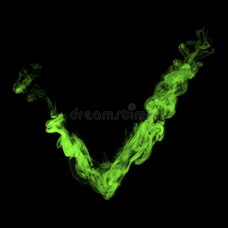 Głosowanie znak od zielonego kolorowego dymu zdjęcie stock