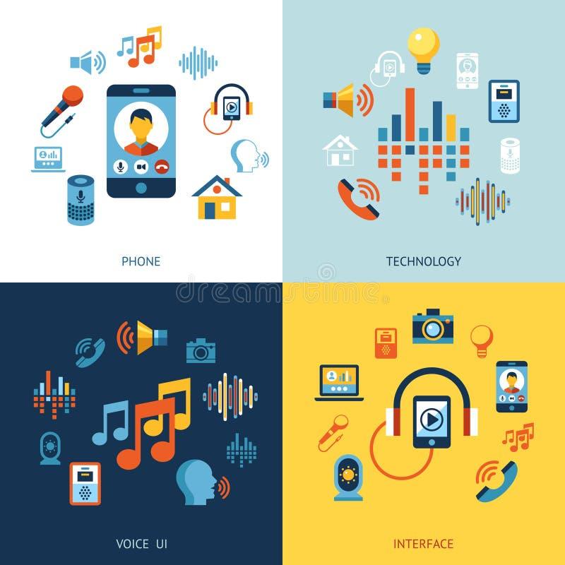 Głosu interfejsu użytkownika ikony set ilustracji