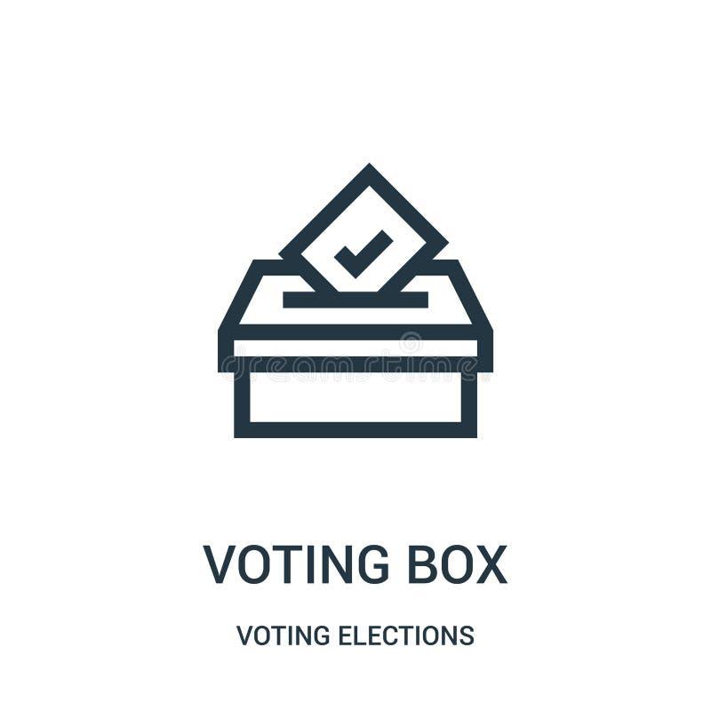 głosujący pudełkowatego ikona wektor od głosować wybory inkasowych Cienka linia głosuje pudełkowatą kontur ikony wektoru ilustrac ilustracji