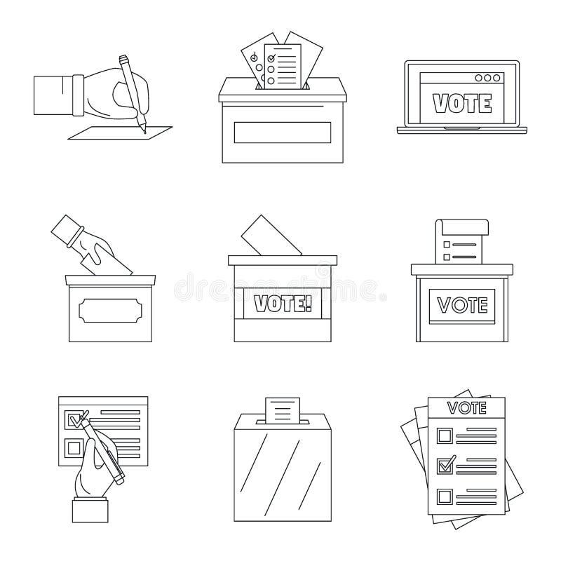 Głosuje głosujący pudełkowate głosowanie ikony ustawiać, konturu styl ilustracji