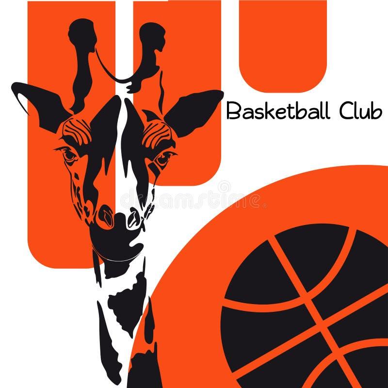 Głowa żyrafa z koszykówką na pomarańcze tle zdjęcia stock
