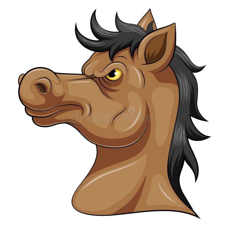 Głowa agresywny koń ilustracja wektor