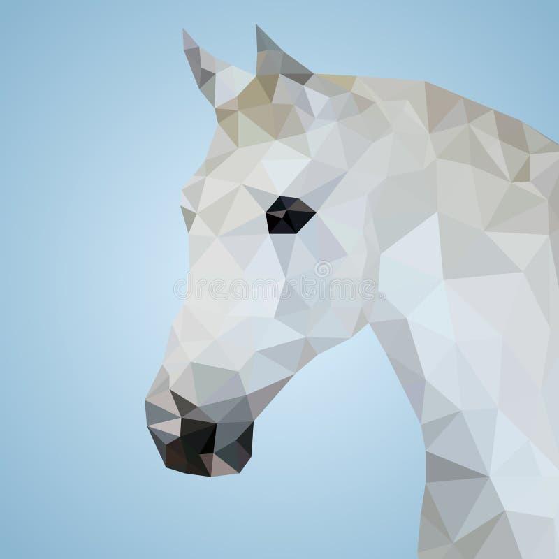 Głowa biały koń w trójgraniastym stylu ilustracja wektor