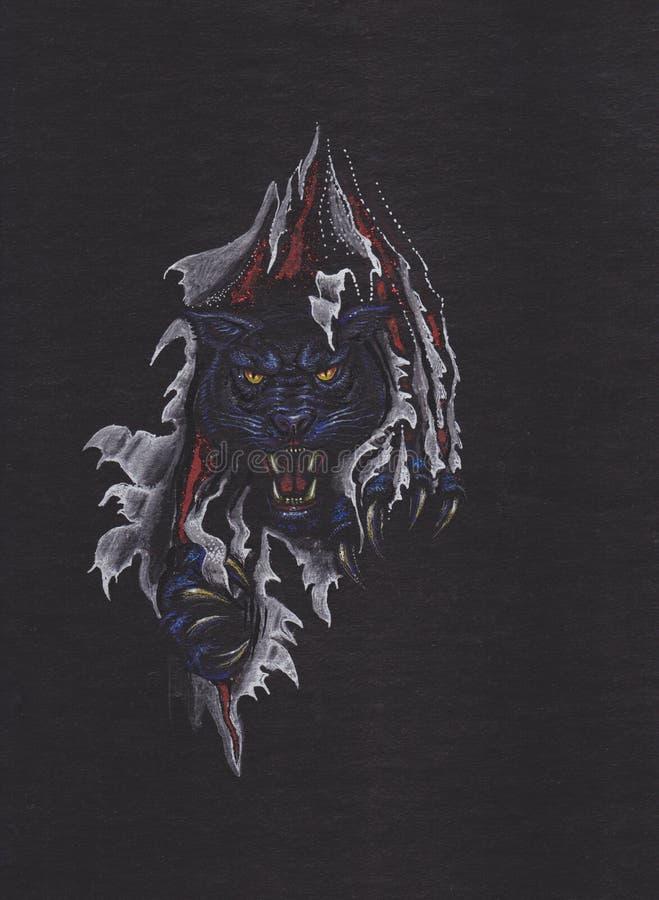 Głowa Czarna pantera royalty ilustracja