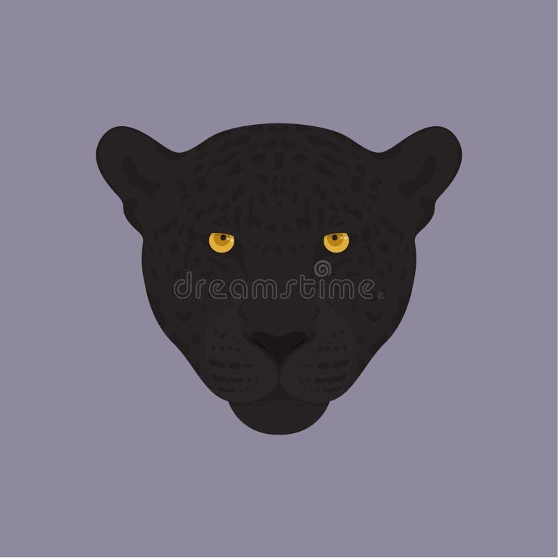 Głowa czarna pantera z pomarańczowymi oczami ilustracja wektor