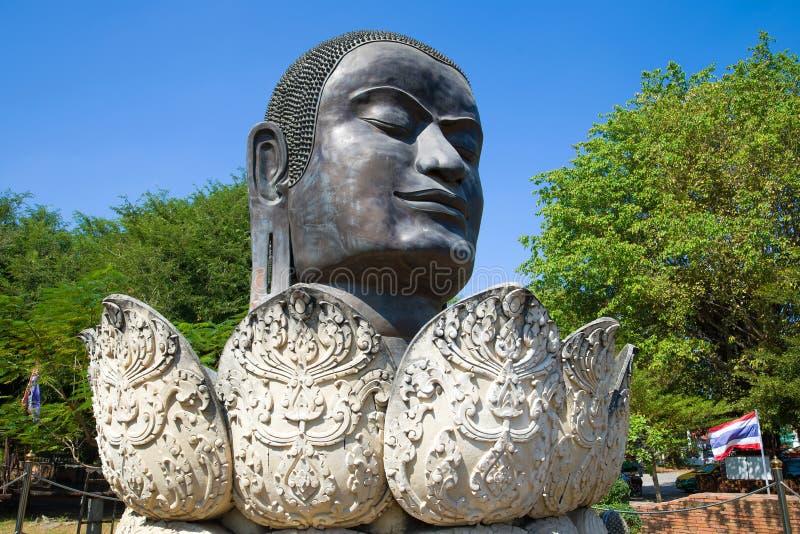 Głowa czarny Buddha ayutthaya Thailand obrazy stock
