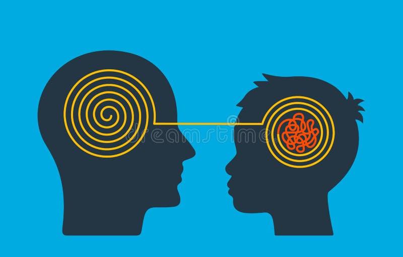 Głowa dorosły psychologa nauczyciel rozplątuje negatywnego główkowanie w dziecka s głowie Pojęcie chaos, rozkaz w myślach ilustracji