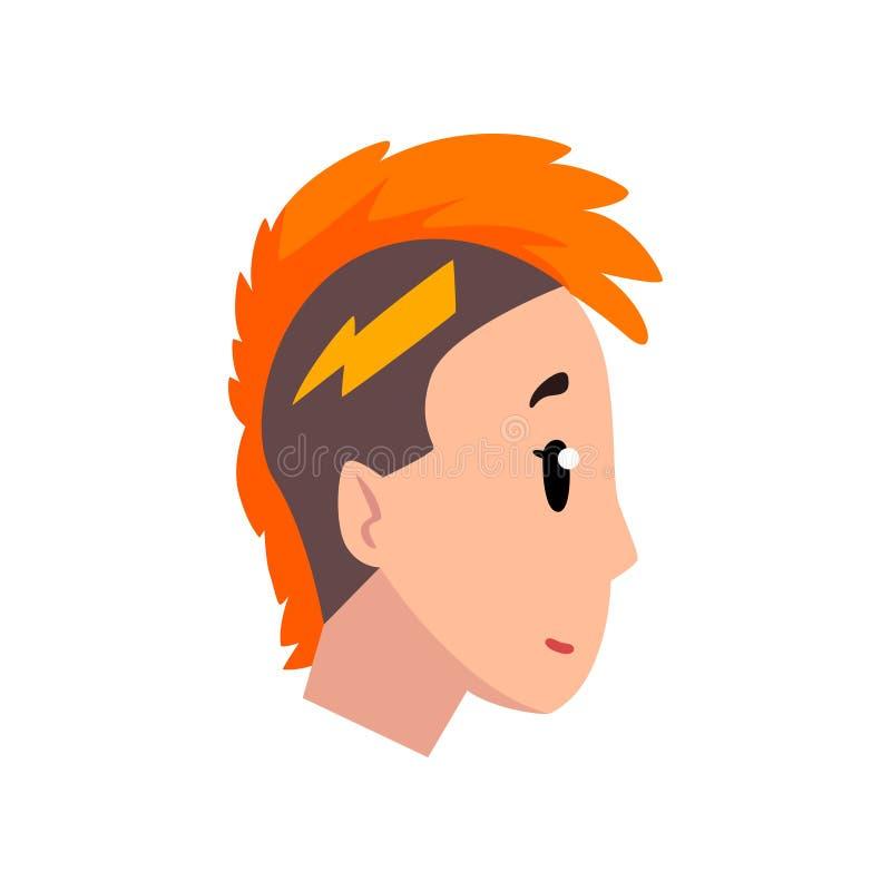 Głowa dziewczyna z mohawk fryzurą, profil młoda kobieta z mody fryzury wektorową ilustracją na bielu ilustracja wektor