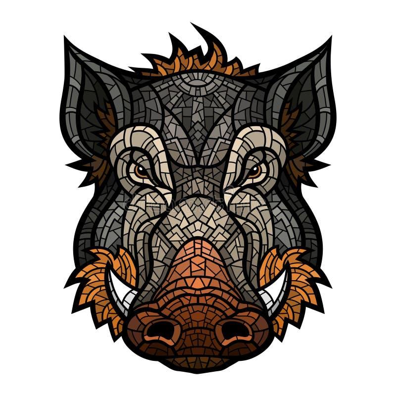 Głowa knur maskotki kolor w mozaika stylu ilustracja wektor